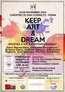 "LOCANDINA VERNISSAGE MOSTRA ""KEEP ART & DREAM"""