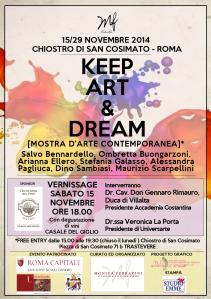 "LOCANDINA VERNISSAGE MOSTRA ""KEEP ART & DREAM"""