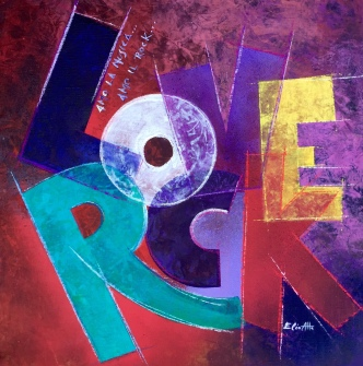 Amo la musica, Amo il rock - acrilico,crete acquarellabili e spray su tela di cotone - 54x54 cm - 2015