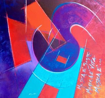 Musica è sogno, Musica è vita, Musica è... - acrilico, crete acquarellabili e spray su tela di cotone - 54x54 cm - 2015