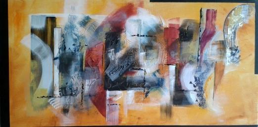 Sovrapposizioni (di una mente inconsapevole) - 80x40 cm - tecnica mista su tela - 2014